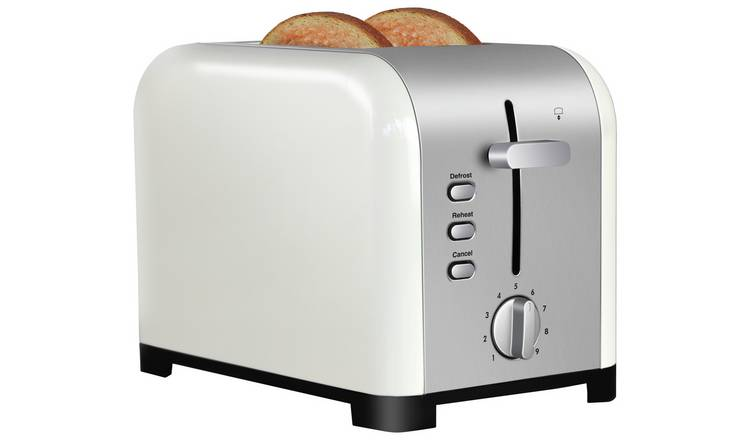 Cookworks Metal Bullet 2 Slice Toaster - Cream