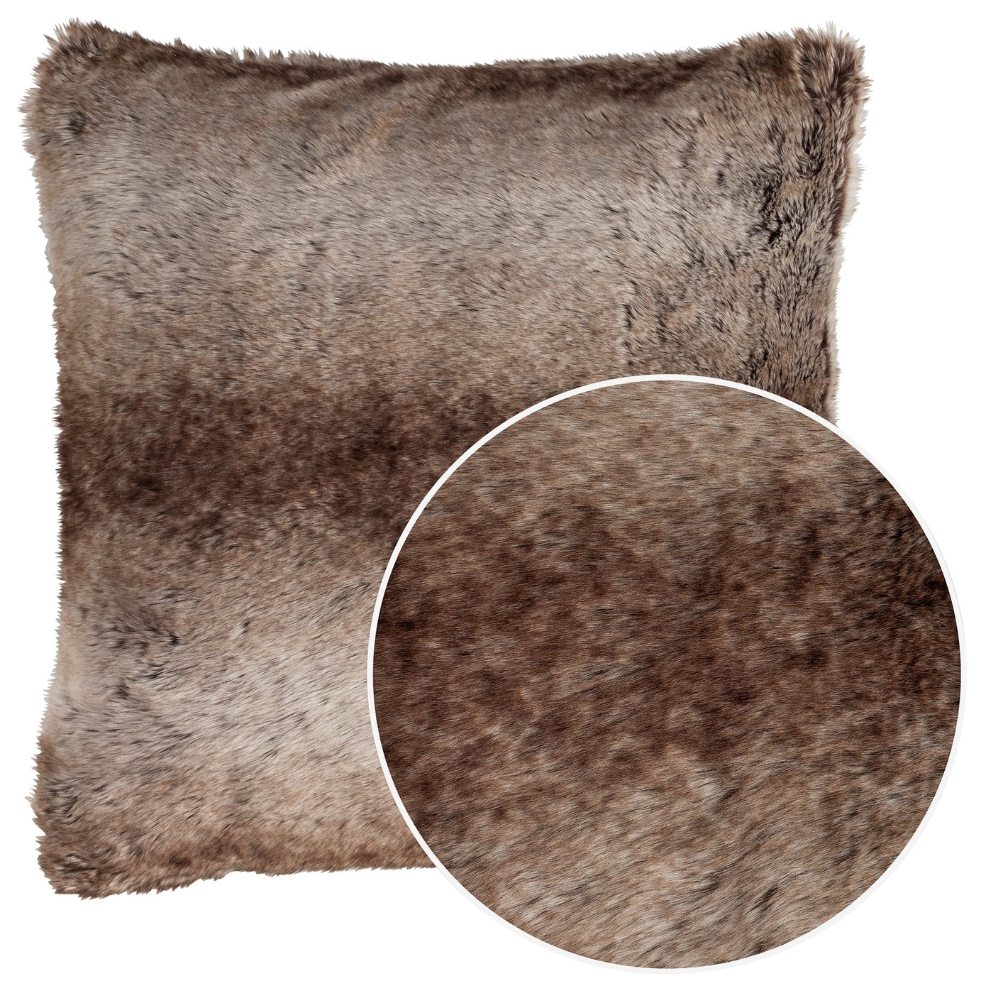 Argos Home Faux Fur Cushion - Brown