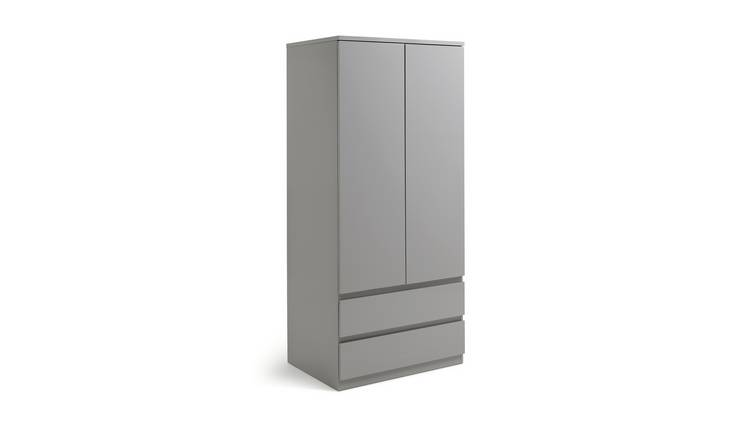 Habitat Jenson 2 Door 2 Drawer Wardrobe - Grey Gloss