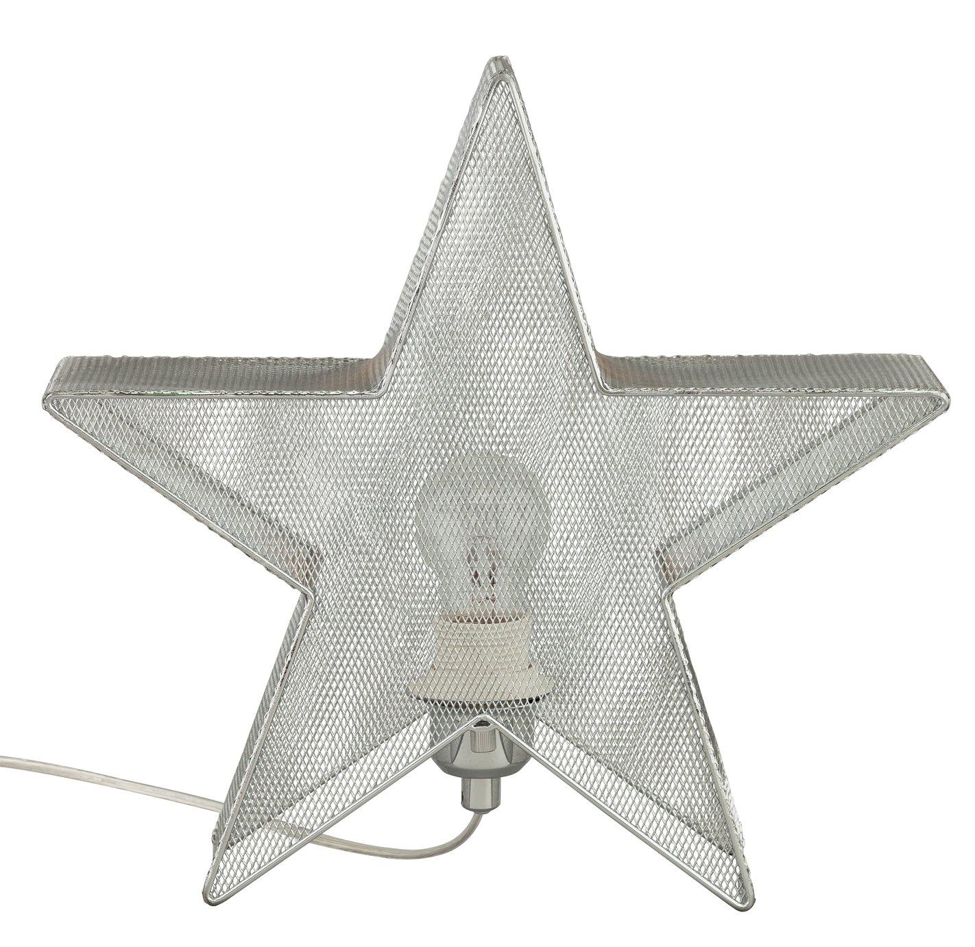 Argos Home Star Chrome Mesh Table Lamp - Silver
