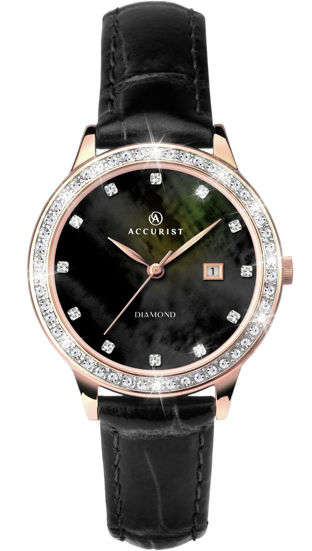 Accurist Ladies' Diamond Set Dial Black Leather Strap Watch