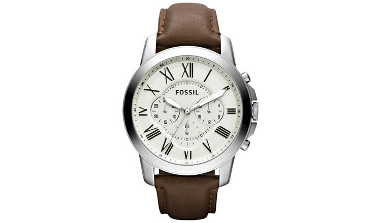 Fossil Grant Men's Chronograph Brown Leather Strap Watch