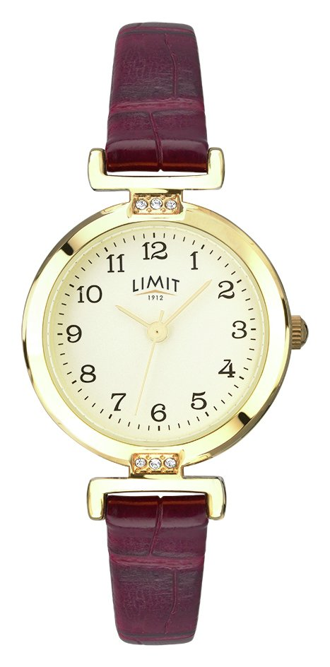 Limit Ladies' Gold Plated Wine Crocodile Effect Strap Watch