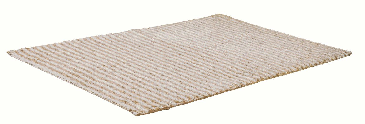 Argos Home Skinny Stripe Bath Mat - Stone White