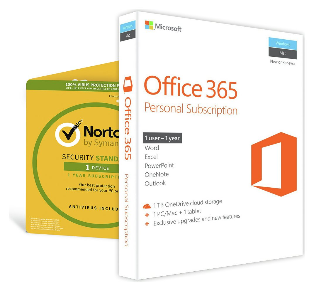 Microsoft Office 365 Personal & Norton Security 1 Device