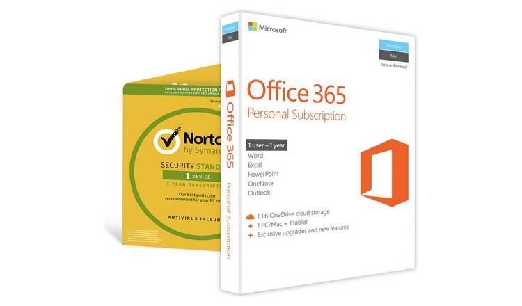 Buy Microsoft Office 365 Personal & Norton Security 1 Device | Laptop and  PC software | Argos