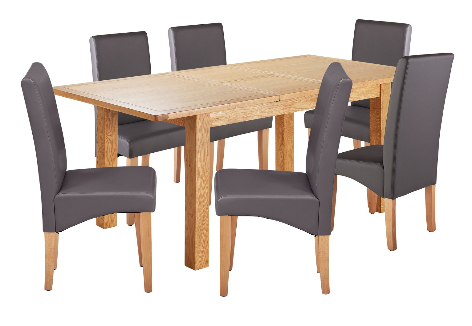 Argos Home Ashwell Extendable XL Table & 6 Chairs - Charcoal