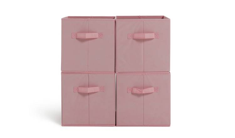 Argos Home Pack of 4 Pink Canvas Boxes