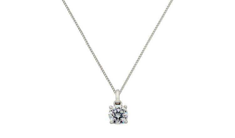 b8373ad68fb0b Buy Revere 9ct White Gold Four Claw Pendant 18 Inch Necklace | Womens  necklaces | Argos