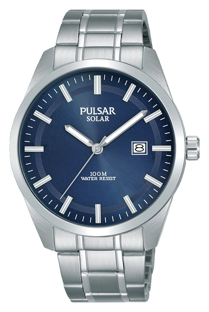 Pulsar Men's Silver Stainless Steel Bracelet Solar Watch