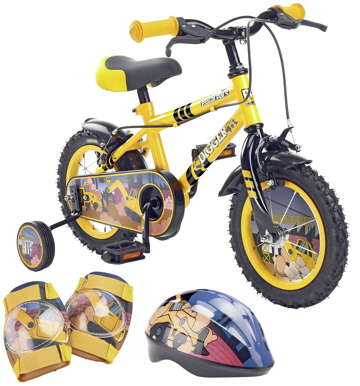 Pedal Pals Digger 12 inch Kids Bike, Helmet and Knee Pads