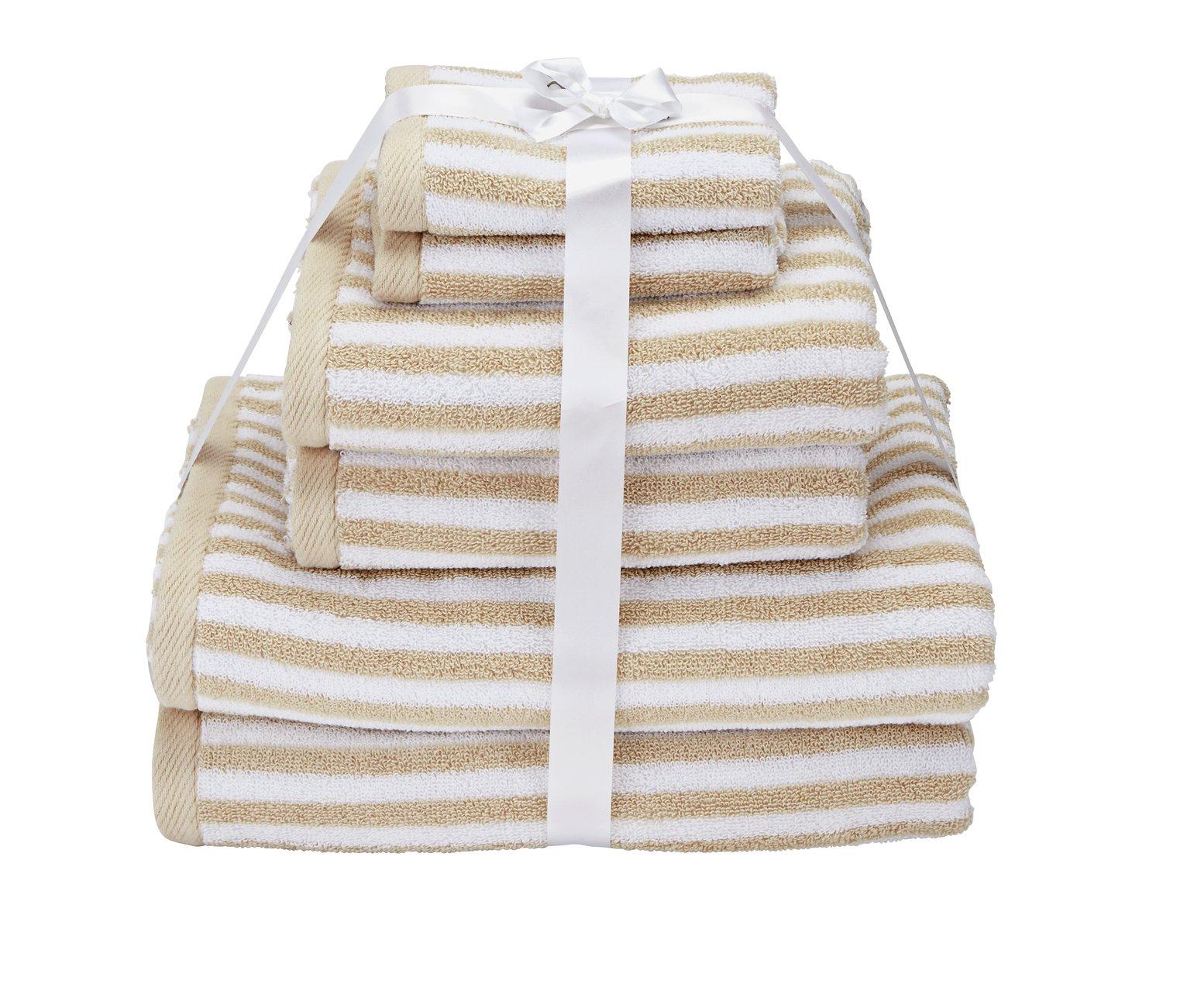 Argos Home 6 Piece Towel Bale - Stone Skinny Stripe