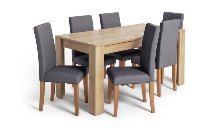 Habitat Miami XL Extending Table & 6 Charcoal Chairs