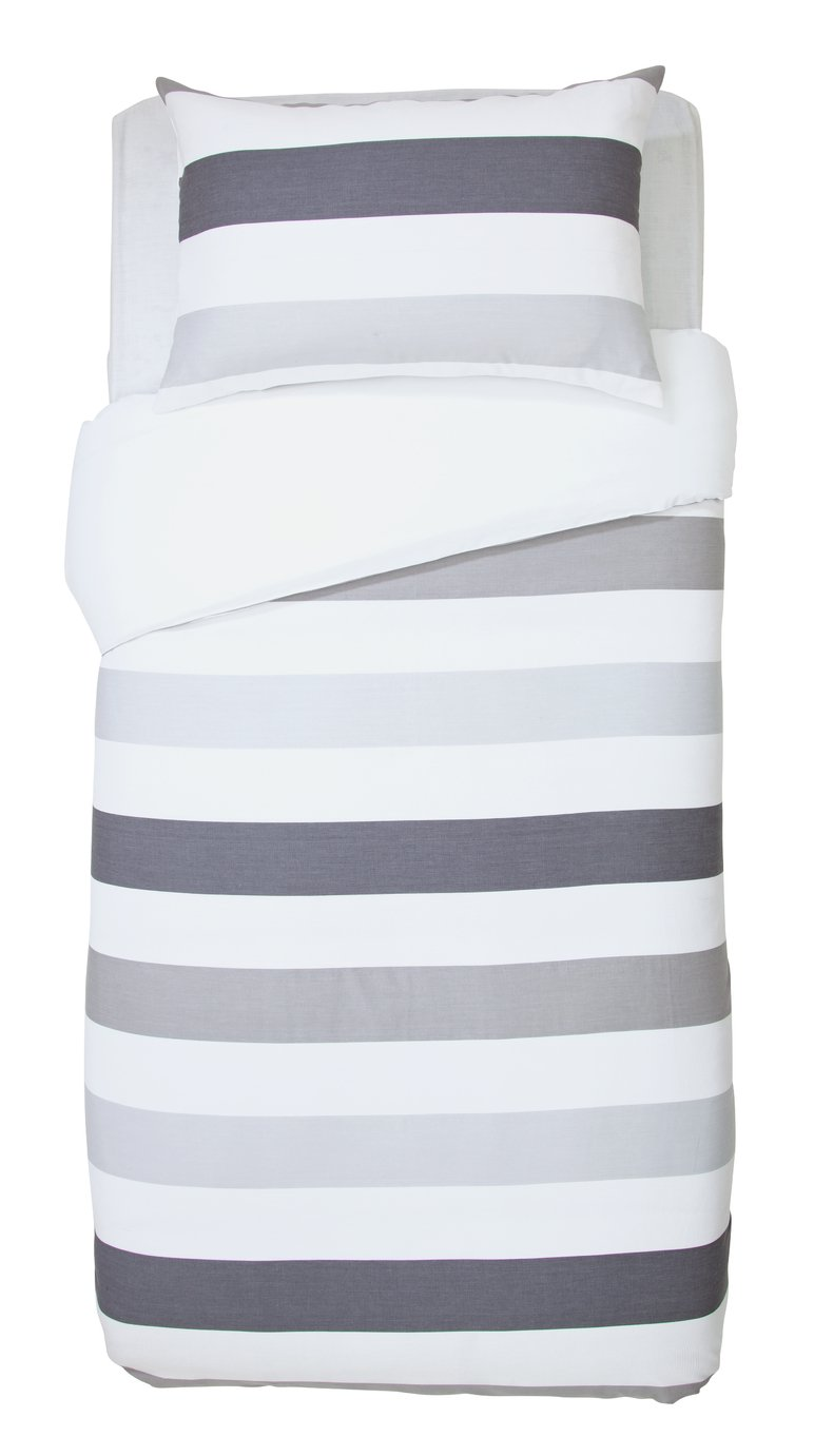 Argos Home Grey Waffle Stripe Bedding Set - Single