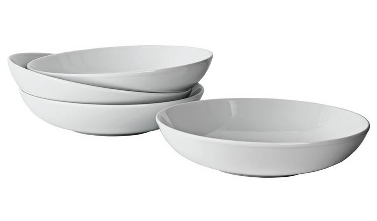 Argos Home Set of 4 Porcelain Pasta Bowls - Super White