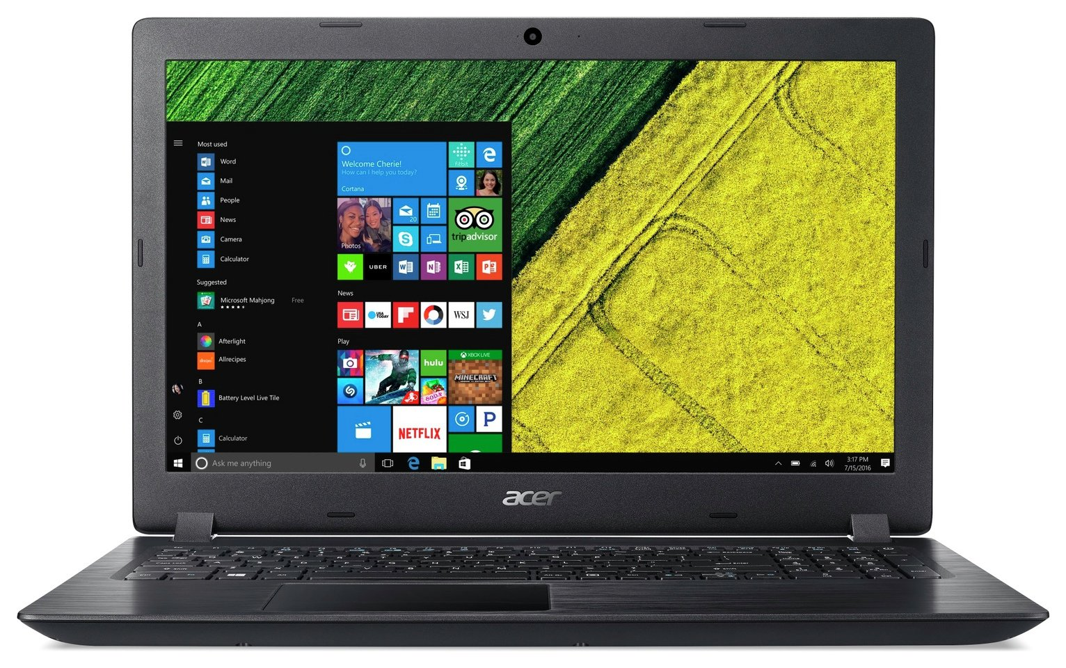 Acer Aspire 3 15.6 Inch Pentium 4GB 1TB Laptop - Black