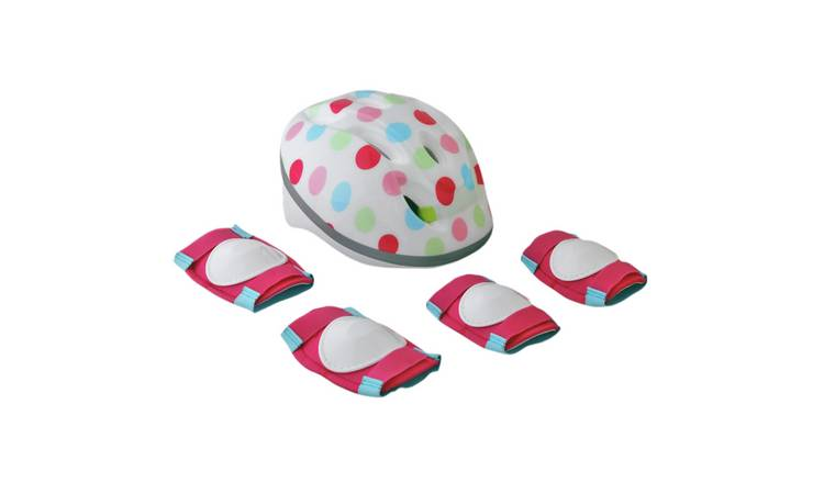 Challenge Kid's Bike Helmet, Elbow and Knee Pads - Polka Dot