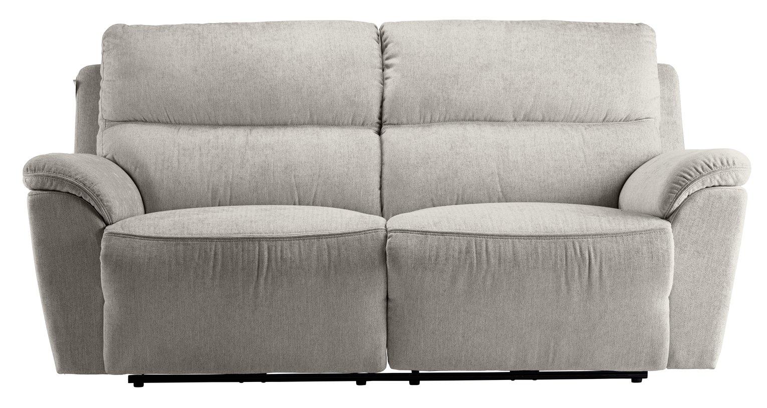 Argos Home Sandy 3 Seater Fabric Power Recliner Sofa -Silver