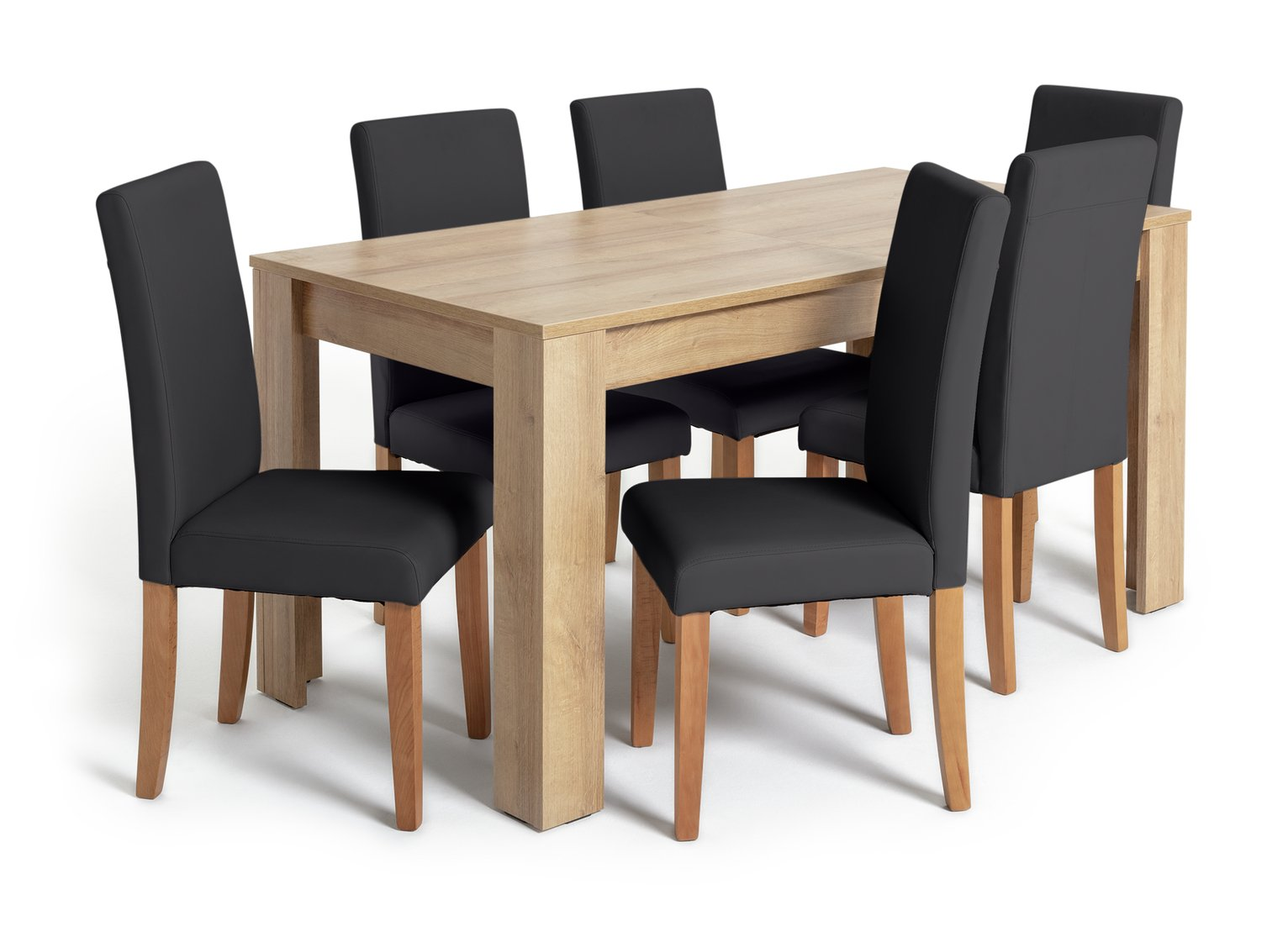 Argos Home Miami Extendable XL Dining Table &6 Chairs -Black
