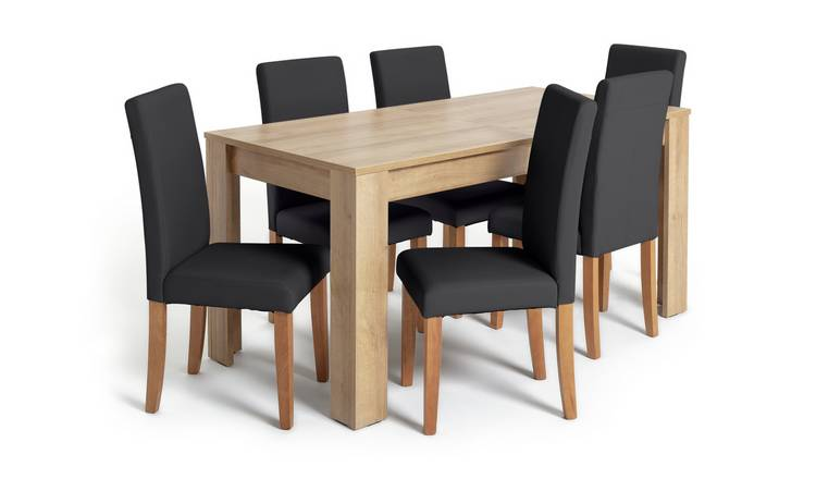 Argos Home Miami XL Extending Table & 6 Black Chairs