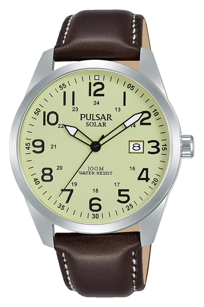 Pulsar Men's Brown Leather Strap Solar Watch