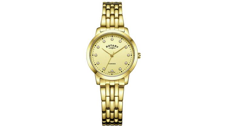 Rotary Ladies Diamond Set Dial Gold Coloured Bracelet Watch