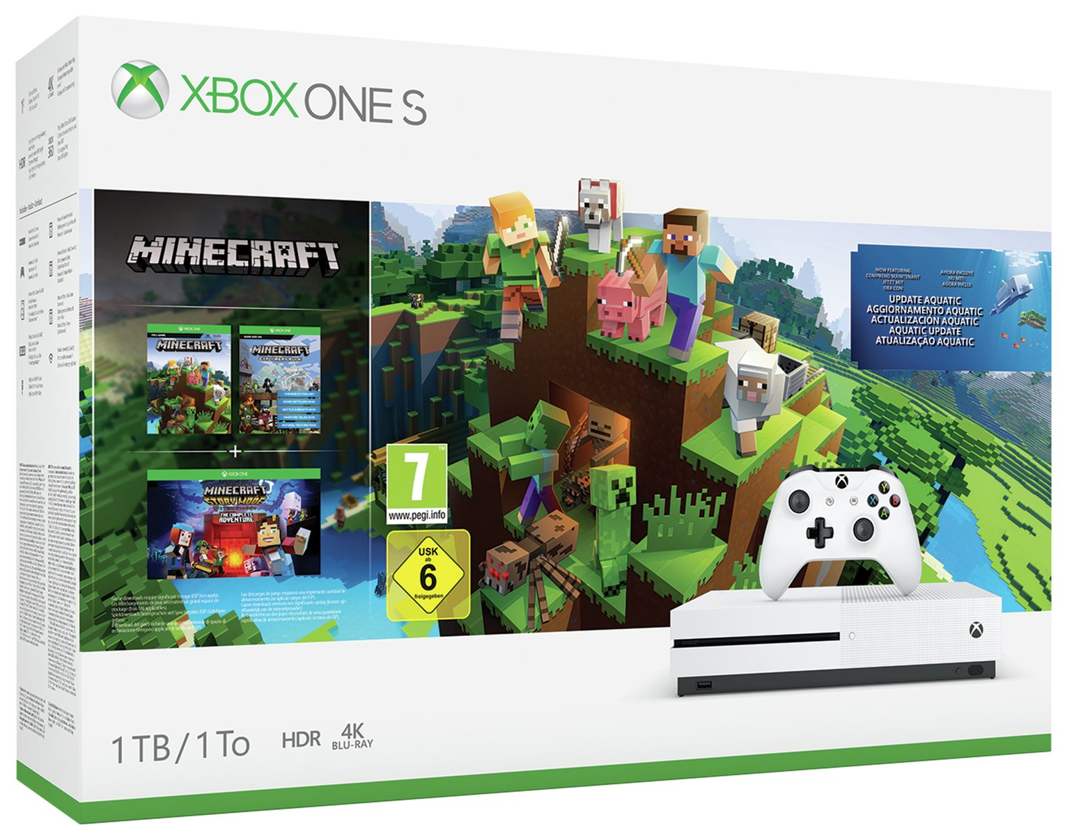 Xbox One S 1TB Console with Minecraft Collection Bundle
