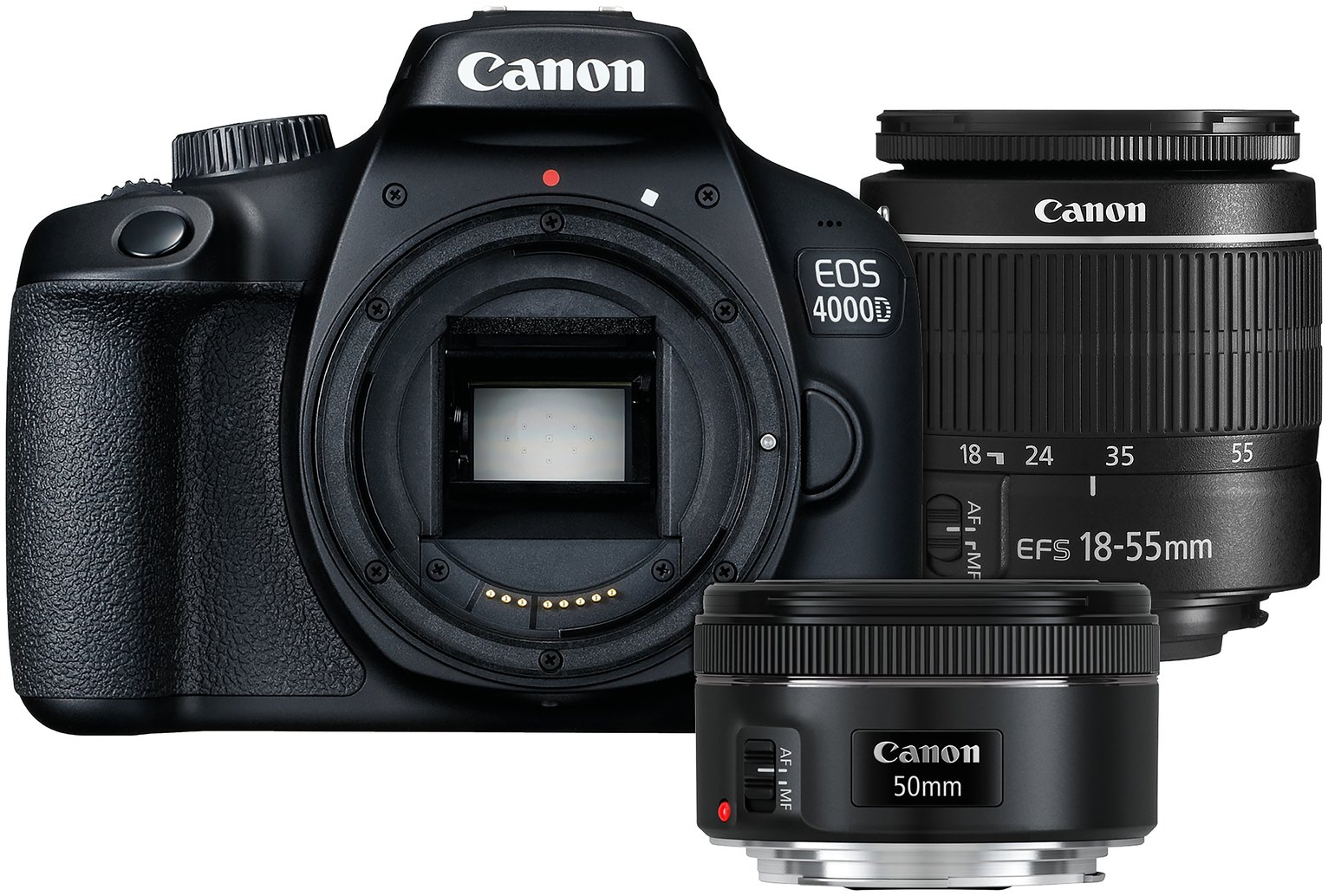 Image of Canon EOS 4000D DSLR Camera with 18-55mm & 50mm Lenses