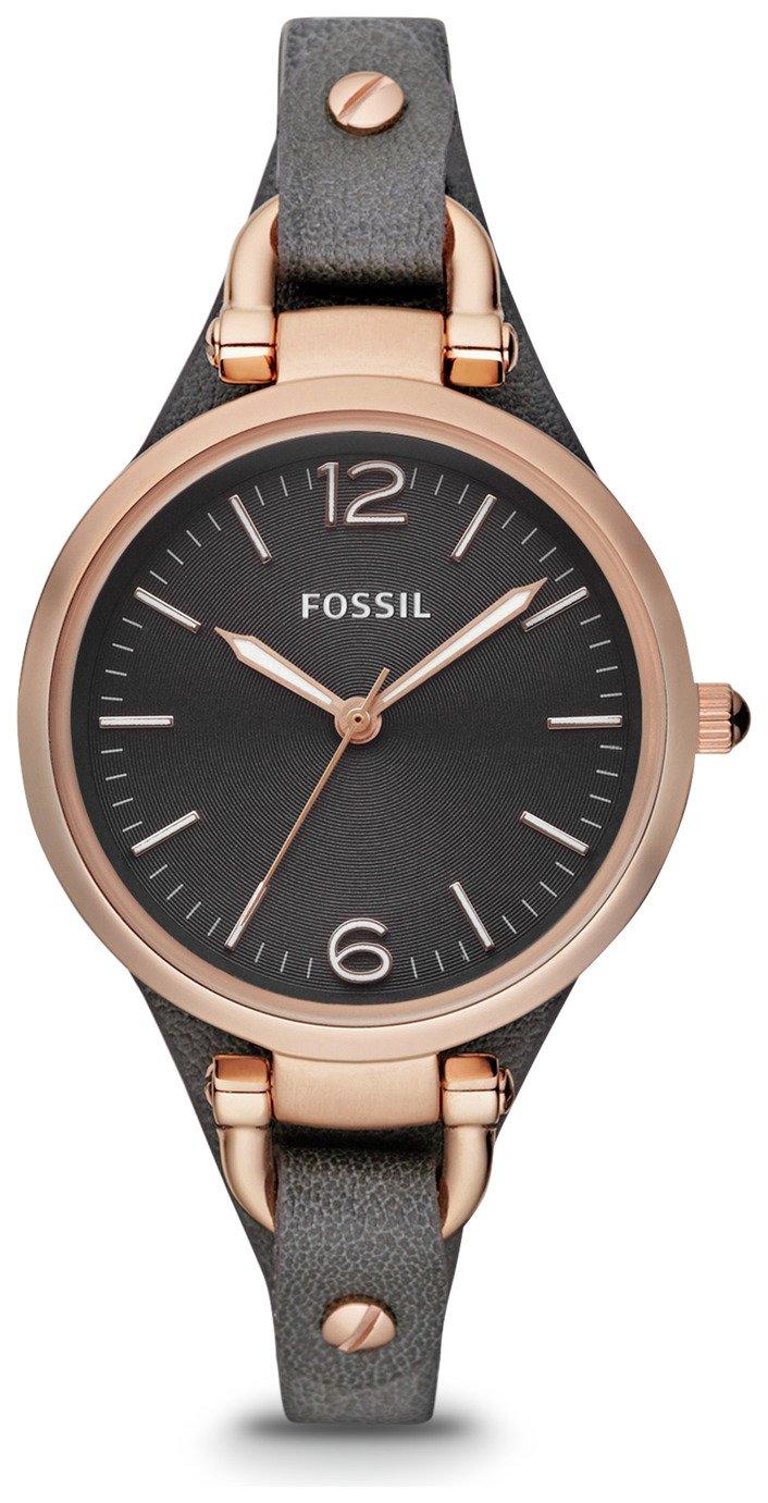 Fossil Georgia Ladies' ES3077 Rose Gold/Smoke Leather Watch