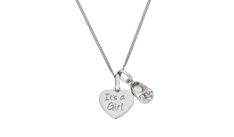 Moon & Back Silver Baby Girl Pendant 18 Inch Necklace