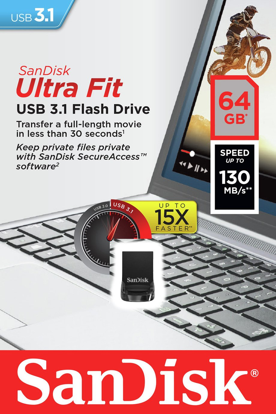 SanDisk Ultra Fit 130MB/s USB 3.1 Flash Drive - 64GB