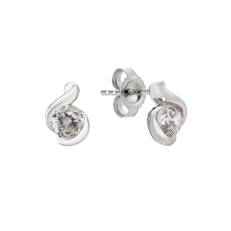 Revere 9ct White Gold Cubic Zirconia Wrap Stud Earrings