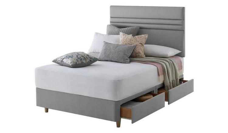 newest ba98e 46fb2 Buy Silentnight Roma 4 Drawer Superking Divan & Headboard - Grey | Divan  beds | Argos