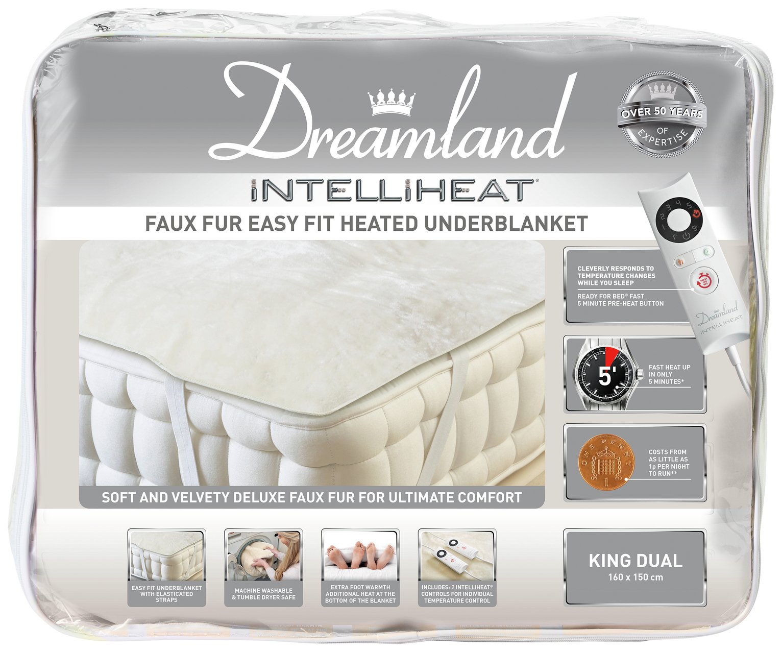 Dreamland Intelliheat Dual Control Electric Blanket - King