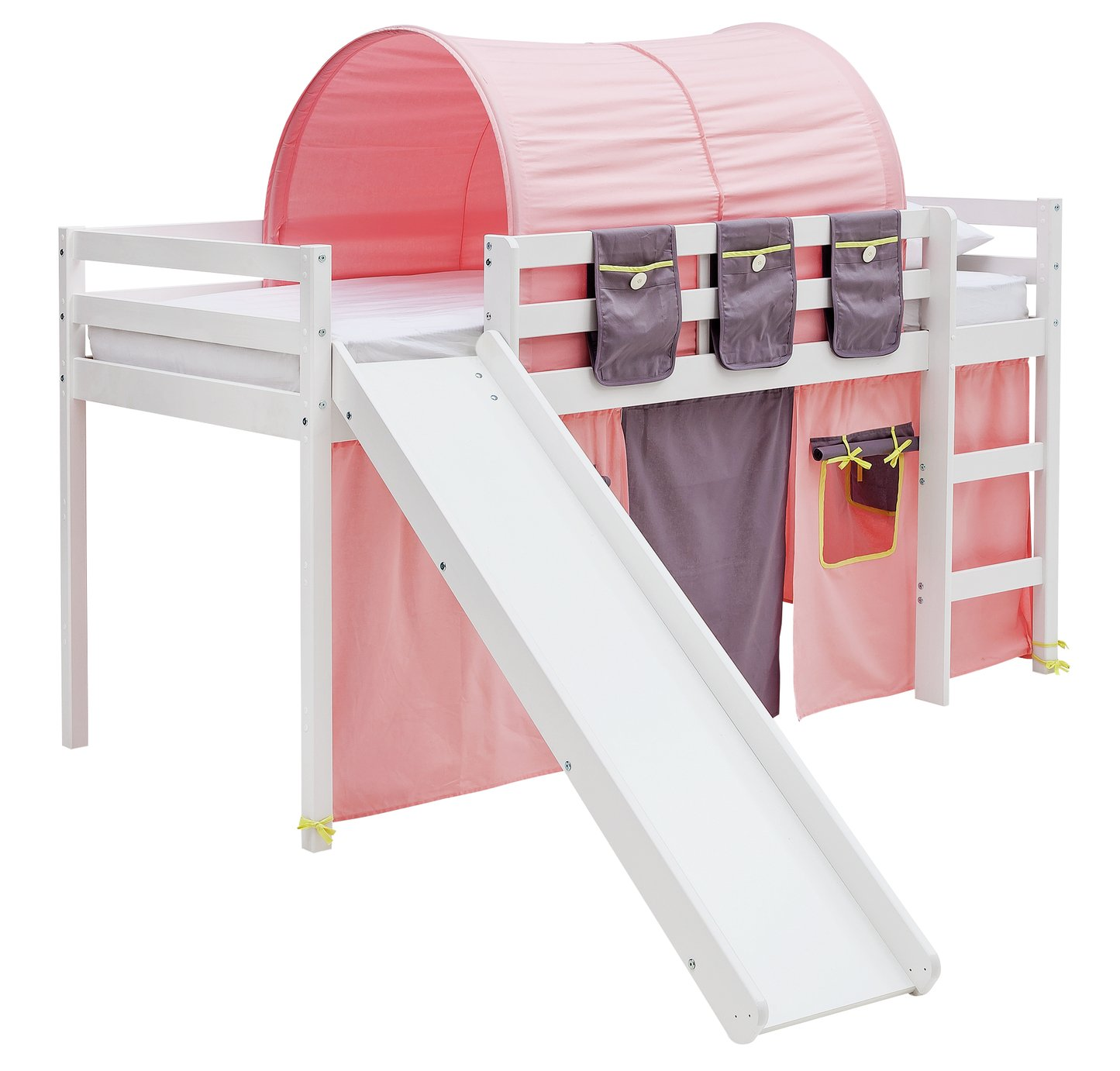 Argos Home Kaycie White Mid Sleeper with Slide & Rose Tent