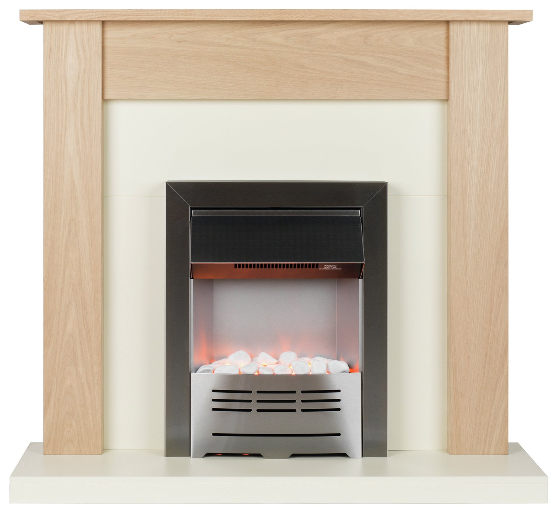 Beldray Earlesworth 2kW Electric Fire Suite - Oak & Ivory