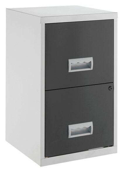Pierre Henry 2 Drawer Metal Filing Cabinet - Silver & Black