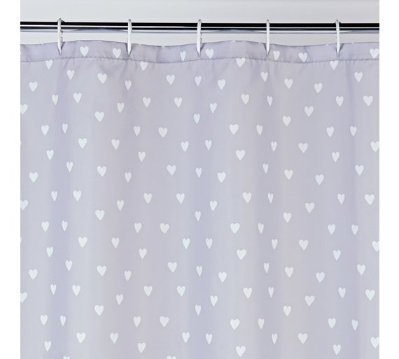 buy argos home shower curtain grey hearts shower curtains and
