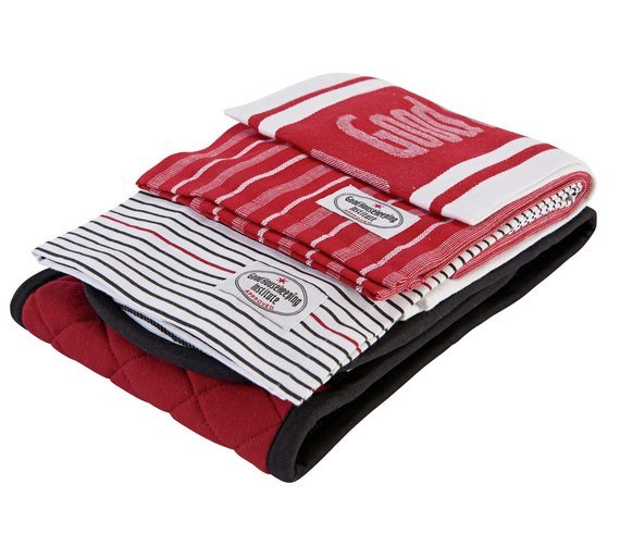 Good Housekeeping Oven Glove and Tea Towel Set - Black