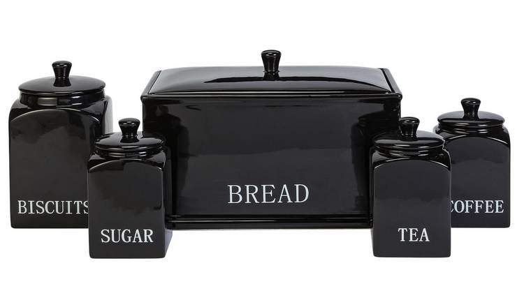 Argos Home Bistro 5 Piece Ceramic Storage Set - Black