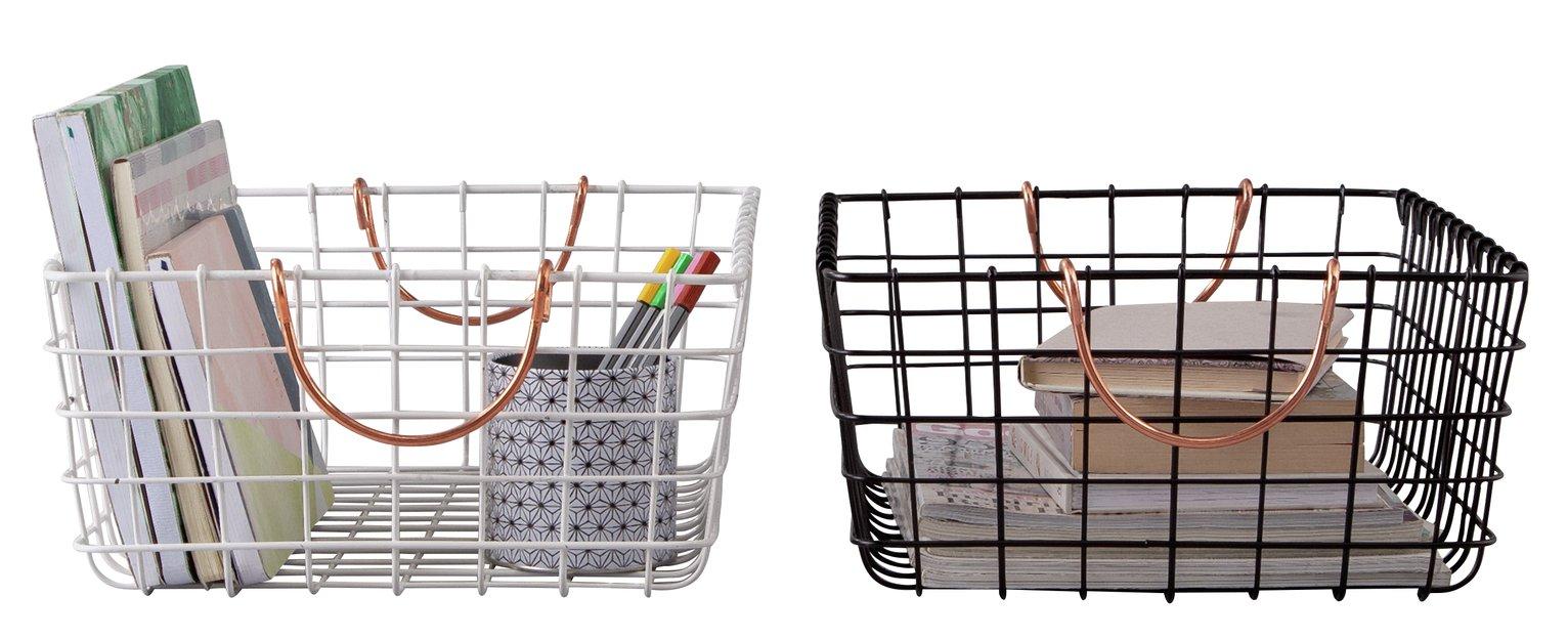 Argos Home Set of 2 Wire Storage Baskets - Black & White