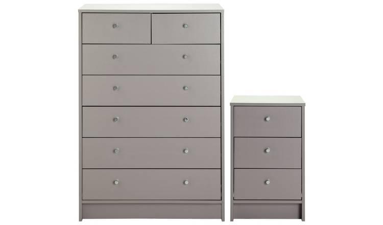 Buy Habitat Malibu Bedside 5 2 Drawer Chest Set Grey Bedroom Furniture Sets Argos