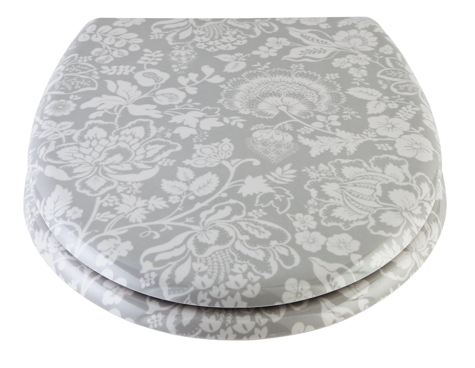 Argos Home Jacobian Floral Toilet Seat - Grey
