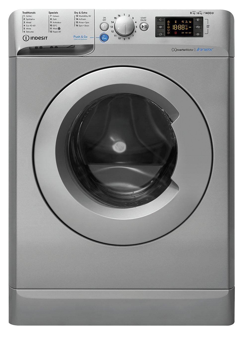 Indesit BDE861483XS 8KG/6KG 1400 Spin Washer Dryer - Silver