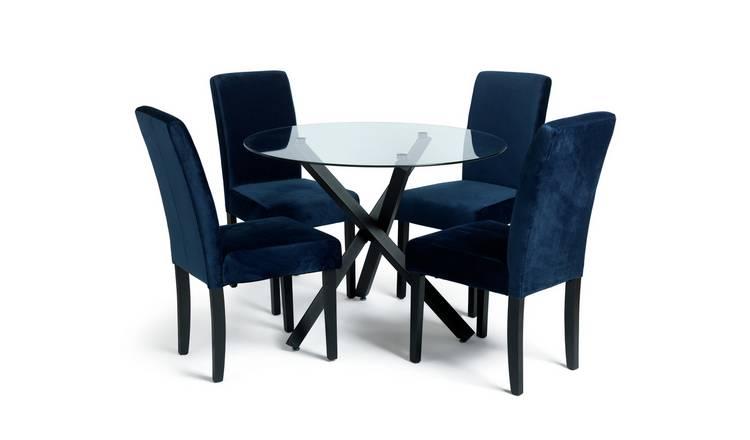 Buy Argos Home Ava Glass Dining Table & 4 Velvet Chairs ...