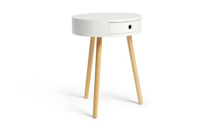 Habitat Otto 1 Drawer Round Bedside Table - White