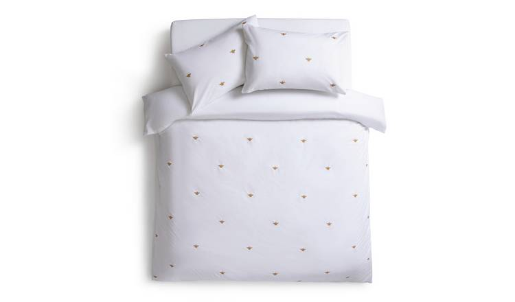 Habitat Gold Bee Embroidered White Bedding Set - Single