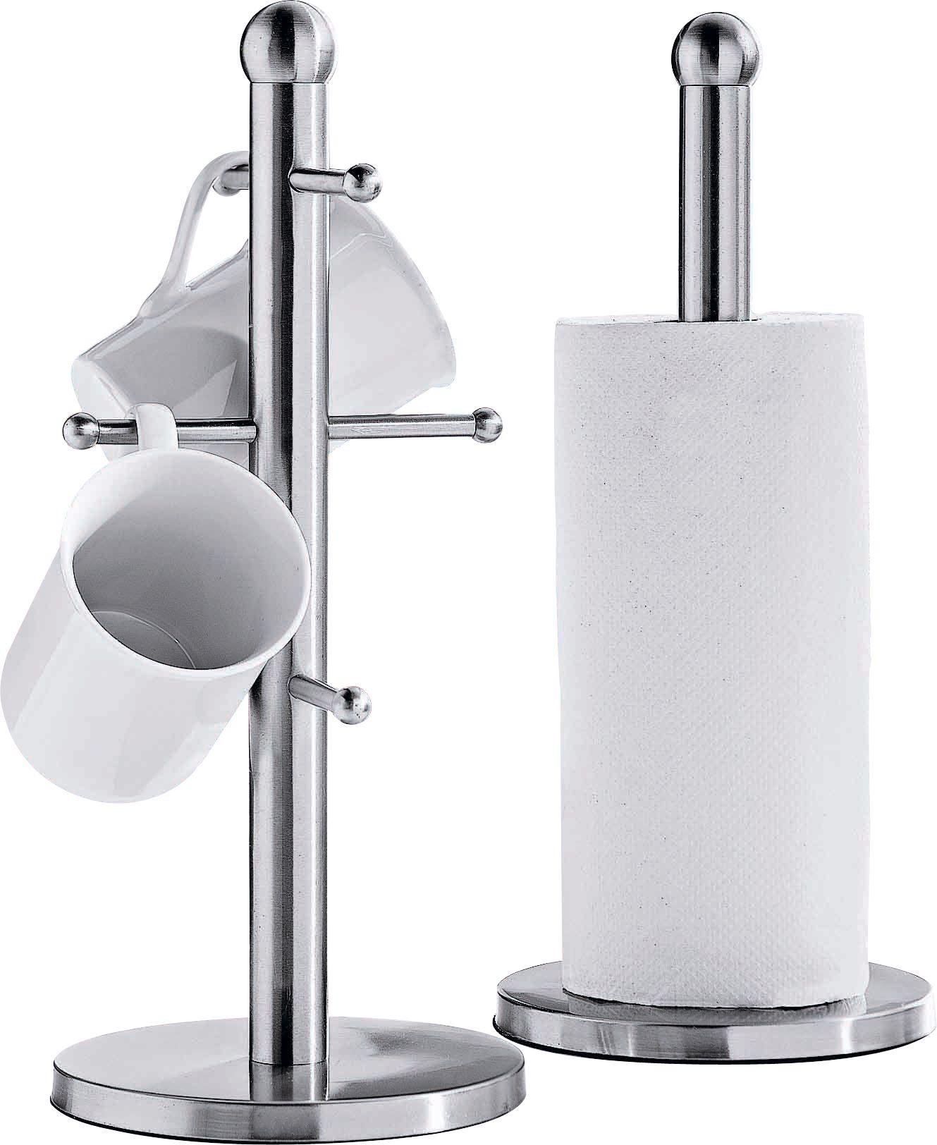 Buy HOME Satin Stainless Steel Mug TreeKitchen Towel Holder Set