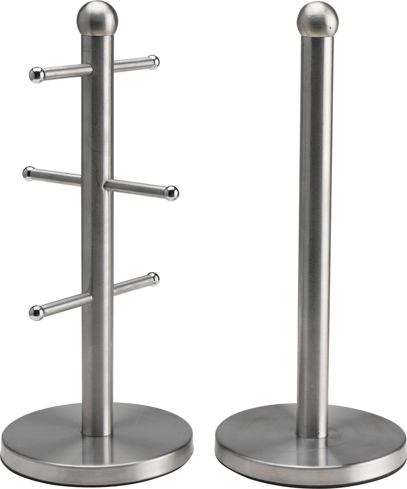 Image of HOME - Satin Stainless Steel Mug Tree-Kitchen Towel Holder Set