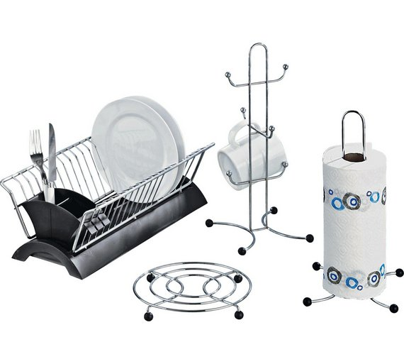 Online Kitchen Supplies: Buy HOME Set Of 4 Black And Chrome Kitchen Accessories At